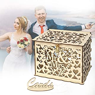 Wedding Card Box, Wooden Wedding Money Box Holder Hollow Diy Gift Box Rustic Wood Card Box With Lock And Cards Sign For Reception Weddings Baby Showers Birthdays Graduations Party Decorations