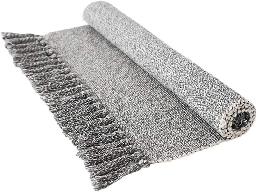 Wolala Home Contemporary Reversible Hand Woven Tassels Fringe Cotton Indoor Area Rugs for Bedroom/Kitchen/Living Room /Laundry Room/Entryway White&Gray (3'x5')