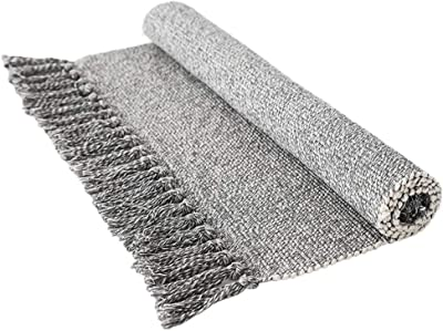 Wolala Home Contemporary Reversible Hand Woven with Fringe Cotton Indoor Area Rug Mats Throw Rugs for Bedroom/Kitchen/Living Room/Laundry Room/Entryway White&Gray 3'x5' Light Gray