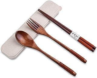 MUXItrade Couverts en Bois   Kit Couverts écologique   Couteau, Fourchette, cuillère et Paille  Couverts de Voyage   Couve...