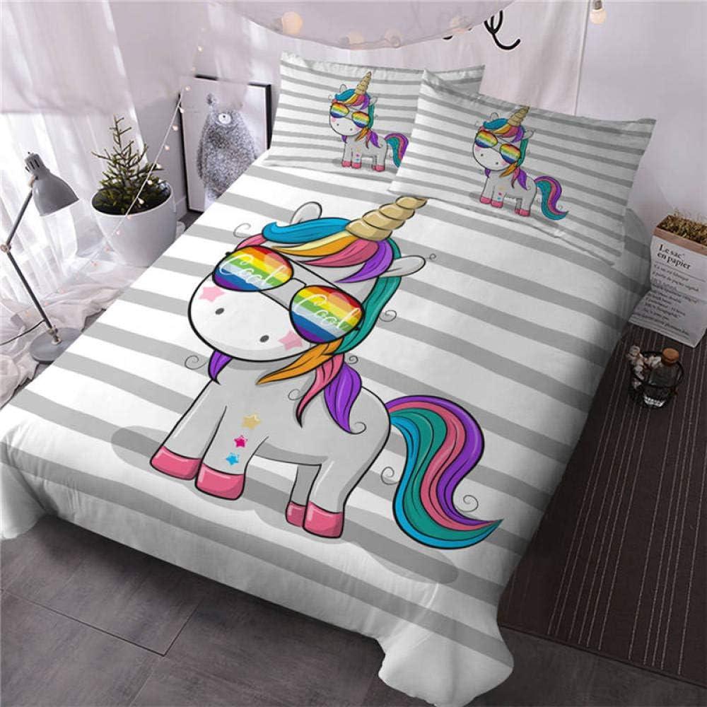 LHNGOD Unicorn Cheap SALE Start Girls Bedding Animal Cover Very popular! Queen Size Print Duvet