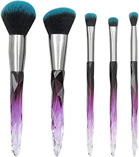 Professional 5PCS Makeup Brush Sets Crystal Diamond Transparent Handle Beauty Cosmetic Brushes Set Tool Pincel Maquiagem,B,United States