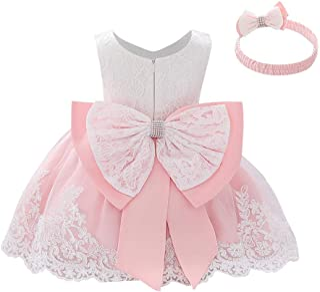 IWEMEK - Vestito da bambina con fiocco, per damigella d'onore, per matrimonio, tutù, principessa, compleanno, festa, festa, per bambini
