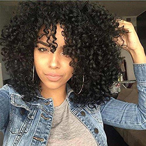 Lockiges Haar Perücken für schwarze Frauen, Kinkys lockige Afro Perücken Menschliches Haar Lace Front kurze flauschige wellige volle synthetische Perücken mit Pony 14