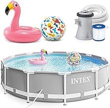INTEX 305x76 cm Prism Metal Frame Swimming Pool Schwimmbecken 26702 mit Extra-Zubehör wie: Schwimmreifen und Strandball