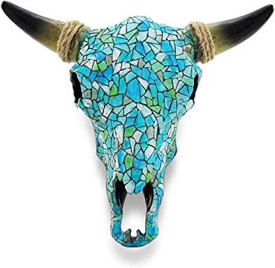 Mosaic Turquoise Steer Skull Wall Hanging