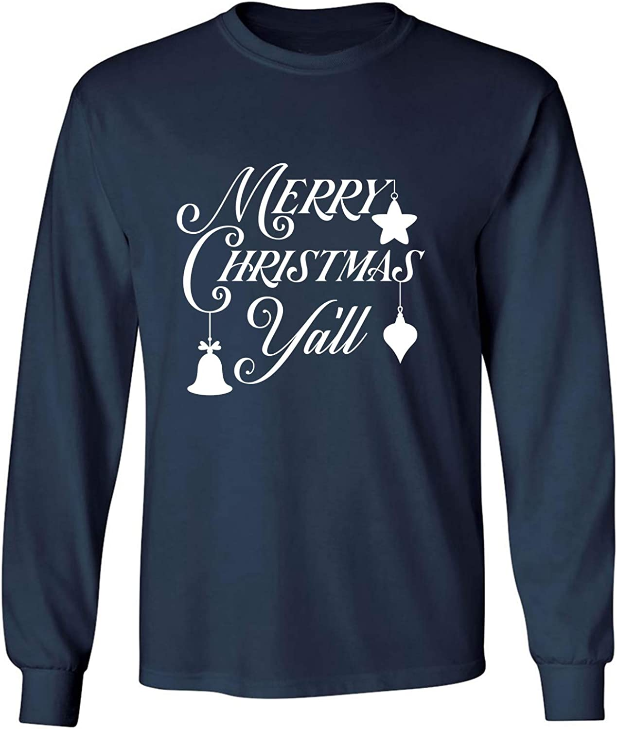 Merry Christmas Y'all Adult Long Sleeve T-Shirt in Navy - XXXX-Large
