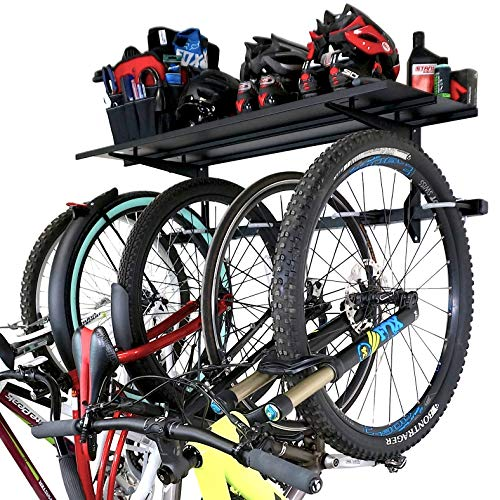StoreYourBoard 5 Bike Storage Rack with Shelf, Holds 135 kg, Indoor Wall Mount, Adjustable Cycling Organizer