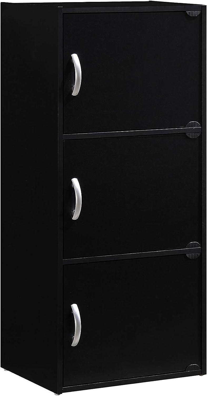 Hodedah 3-Shelf, 3-Door Multi-purpose Cabinet, Multiple Colors (.A Black)