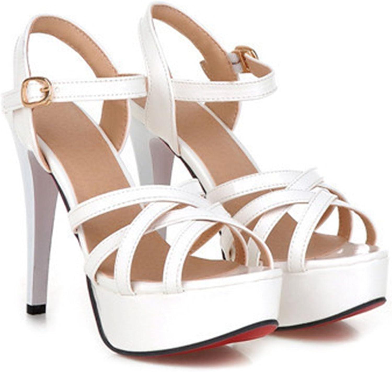 Ladiamonddiva Sandals Fashion Summer Women Sandals Summer Heels Gladiator Party Platform Thin High Heels Female Cutout Yellow shoes White 8.5