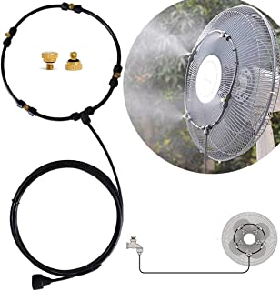 Outdoor Fan Misting Kit, 19.36FT Misting Line and 6 General Brass Adapter Patio Fan Misting System, Connects to Any Fan Convert Misting for Cooling Outdoor