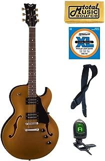 Dean COLT ST MGD Colt Semi-Hollow-Body Electric Guitar, Metallic Gold, Bundle