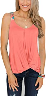 Famulily Summer Tank Top V Neck Sleeveless Twist Knot Shirts Camisoles