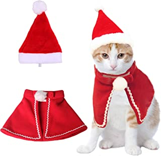 Christmas Cat Plush Santa Hat Cloak Scarf Dog Pet Cosplay Costume Xmas Kitten Puppy Red Caps Collar Manteau Velvet Clothing Clothes Funny Birthday Party Mantle Dress Up Apparel Holiday Costume
