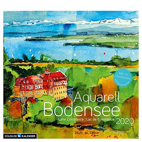 Bodensee Aquarell 2020: Postkarten-Tischkalender