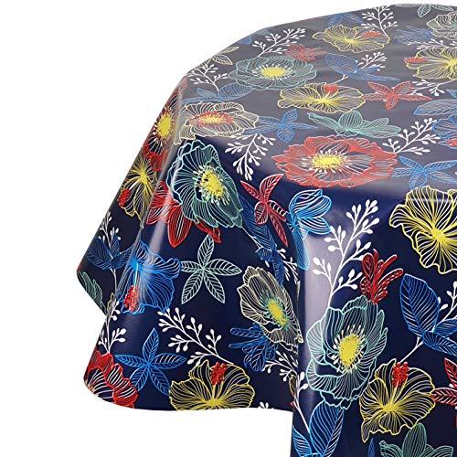 DecoHomeTextil Wachstuchtischdecke Wachstuch Tischdecke Gartentischdecke Rund Oval Leuchtblumen Blau Oval 130 x 180 cm abwaschbare Wachstischdecke