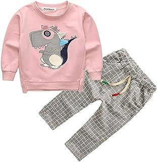 37b8607f36 Mysky Cute Dinosaur Print Sweatshirt + Classic England Plaid Pants Trousers  Outfits Set for Toddler Kids