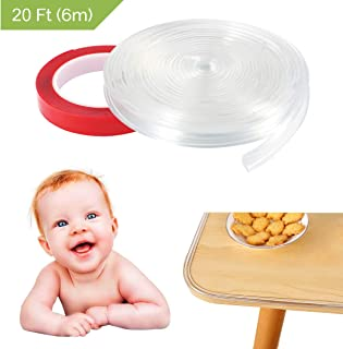 Transparent Corner Guards, Mikikin Corner Protector Baby Proofing Furniture Table Edge Guards 20ft Soft Silicone Bumper Strip with Double-Sided Tape for Cabinets, Tables, Drawers, Household Appliances