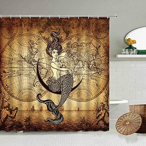 Retro Nautische Weltkarte Duschvorhang Meerjungfrau Mädchen Familie Badezimmer Wanddekoration mit Haken wasserdichter Polyester-Display-180cmx200cm
