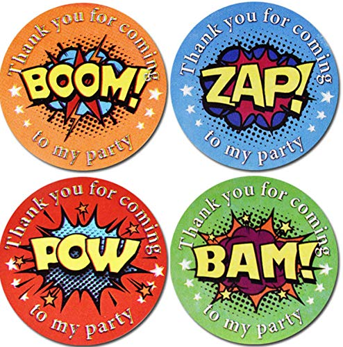 ZAP BAM POW BOOW 1' Superhero Sticker Roll /4 Different Design /500 Adorable Party Wall Decoration stickersM, Superhero Stickers for Kids Indoor & Outdoor Party,RV,'Thank You for Coming to My Party'!