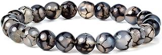 J.Fée - Braccialetto elastico in agata con vena di drago, nero e bianco, 8 mm, pietra naturale, regalo di Natale per yoga,...
