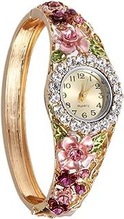 Chinatera Hot Sale Fashion Gold Plated Rhinestone Flower Lace Shining Bracelet Watch Wristwatch (5#)