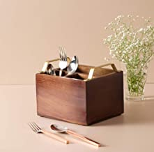 Nestroots Wooden Cutlery Holder Spoon Stand with Gold Handles for Dining Table or Restaurants | Sheesham Wood | 7X4 Inches
