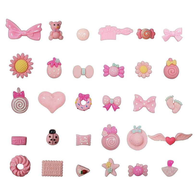 Megrez 30 Pcs Pink Candy Slime Charms Craft Making,Beads Mix Assort DIY Flatbacks Resin Flat Back Buttons Scrapbooking