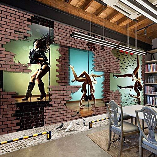 WLPBH Muurschildering Zelfklevende 3D Behang Paal Dansende Fitness Tile Gym Behang Kinderkamer Thuis Decoratie Slaapkamer Woonkamer Tv Achtergrond Corridor Art Mural Photo Poster 250x175 cm (WxH) 5 stripes - self-adhesive