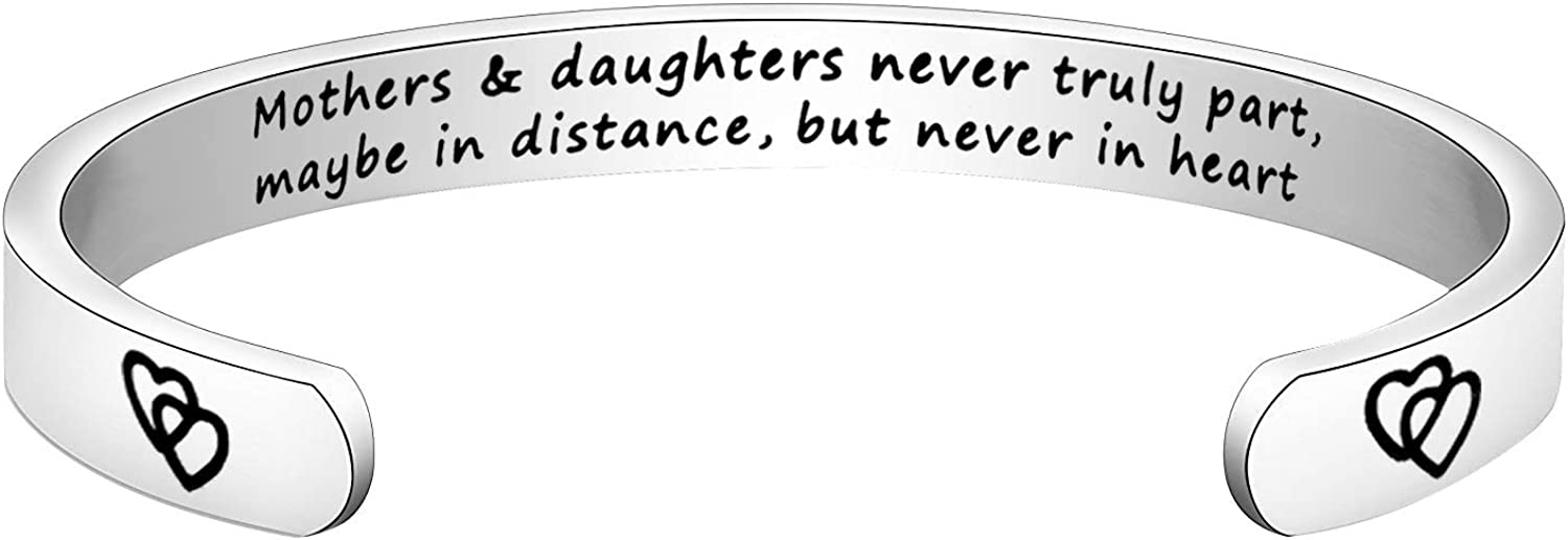 BNQL Mother Daughter Gift Stainless Steel Engrave Bracelet Mothers and Daughters Never Truly Part
