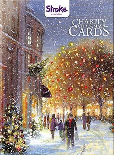Charity Christmas Cards–Town Trees–12cartoline di Natale grande, 6carte ciascuno dei 2design diversi. 80P a sostegno dell' associazione ictus.