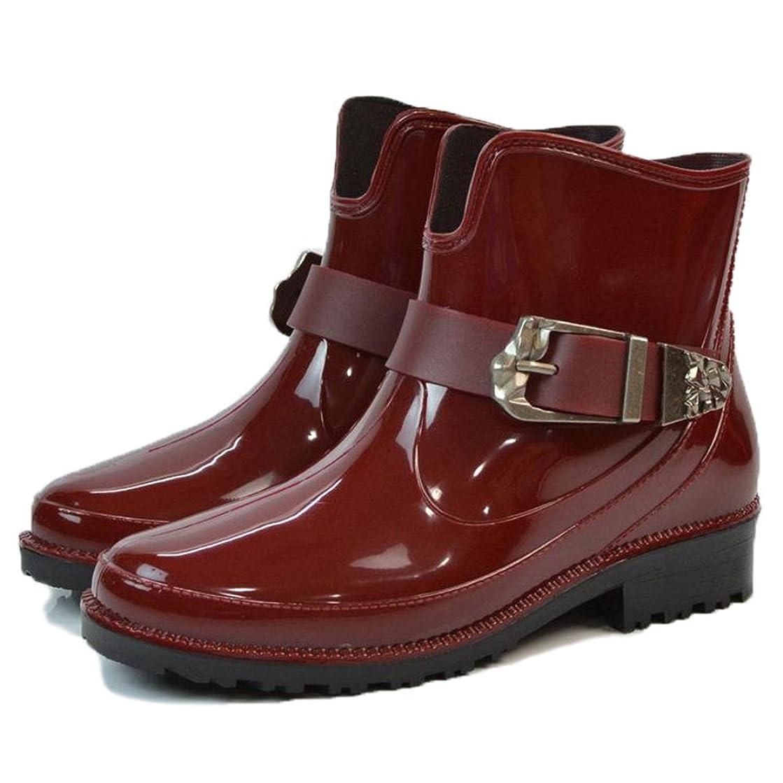 哲学的位置する経営者[HR株式会社]レインシューズ レディース おしゃれ ショート 可愛い バックル付き 防水 軽量 滑り止め 雨靴 雨の日 晴雨兼用 彼女