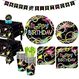 Party City Neon Party Tableware Kit for 16 Guests, 132 Pieces, Includes Plates, Napkins, Utensils, and Decorations
