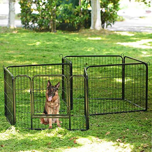 jeerbly 8 paneles de juego adecuado para conejos/guinas/perros y gatos, mascota perro cachorro, parque de juegos de entrenamiento, jaula, jaula, jaula, caja de metal martillado plateado