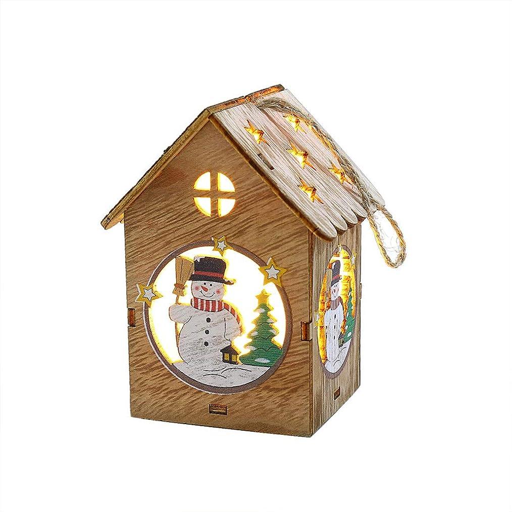 強大なスロープ出演者Fxbar 2020 クリスマスデコレーション 木製ハウス形状 LEDライトクリスマスツリー 吊り下げ装飾 クリスマスオーナメント 6.5x6x11 CM