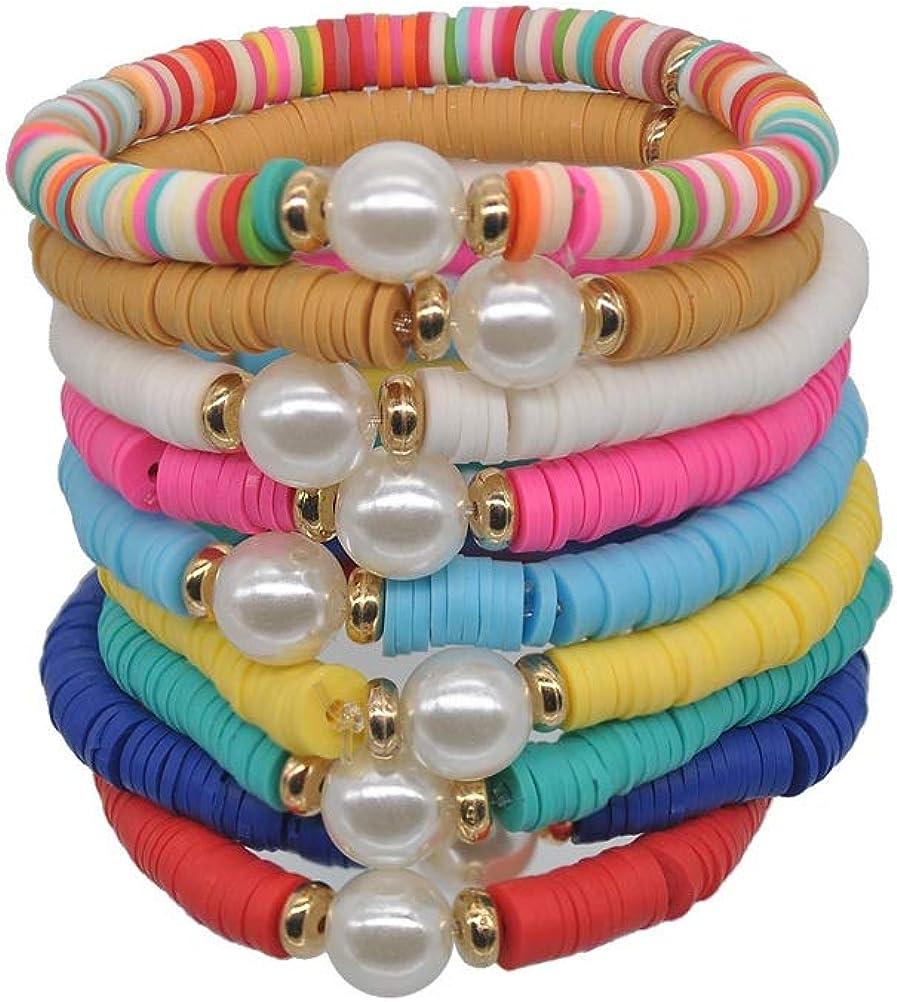 Pingyongchang 10 Pcs Friendship Bracelets Boho 6MM Beades Bracel