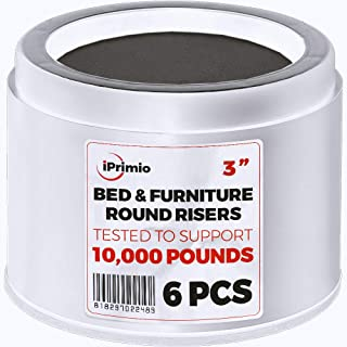 """iPrimio Bed and Furniture Risers – 6 Pack Round Elevator up to 3"""" and Lifts up to 10,000 LBs - Protect Floors and Surfaces – Durable ABS Plastic and Anti Slip Foam Grip – Non Stackable – White"""