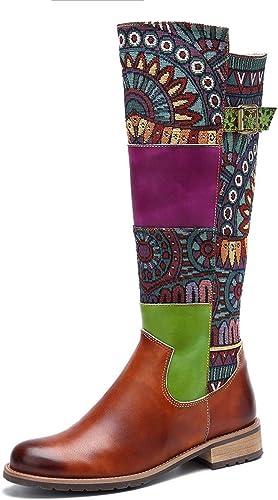 GDXH Nuevos schuheStiefel de damen Stiefel de Tobillo de Cuero Stiefel de Montar Alta Ayuda Invierno cálido Palacio Vintage Bordado en schuhe para Caminar al Aire Libre,A,40EU