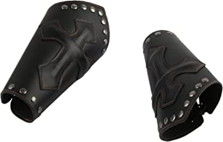 Faux Leather Arm Guards - Medieval Knight Bracers - One Size, Black or Brown