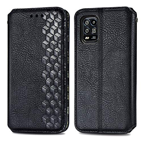 Trugox Funda Cartera para Xiaomi Mi 10 Lite 5G de Piel con Tapa Tarjetero Soporte Plegable Antigolpes Cover Case Carcasa Cuero para Xiaomi Mi 10 Lite - TRSDA120715 Negro
