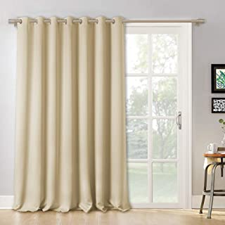 RYB HOME Wall Dividers for Room - Blackout Window Curtain Set Light Block Solid Panel, Outdoor Indoor Privacy Window Dressing for Sliding Patio Door/Dinning, W 100 x L 95 inch, Cream Beige