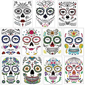 Day of the Dead Temporary Tattoos Halloween Face Tattoos 11 Packs Sugar Skull Stickers Rose Spider Web Full Mask for Women Men Adult Kids Boys Halloween Party Favor Supplies