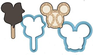 Disney Cookie Cutter Set - American Confections - Disney Wold, Disney Land, MADE IN THE USA (Mickey Mouse Popsicle, Mickey Mouse Pretzel)
