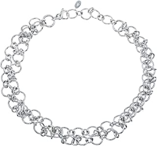 AX Jewelry Thistle & Bee Sterling Silver Chainmail Collar Necklace
