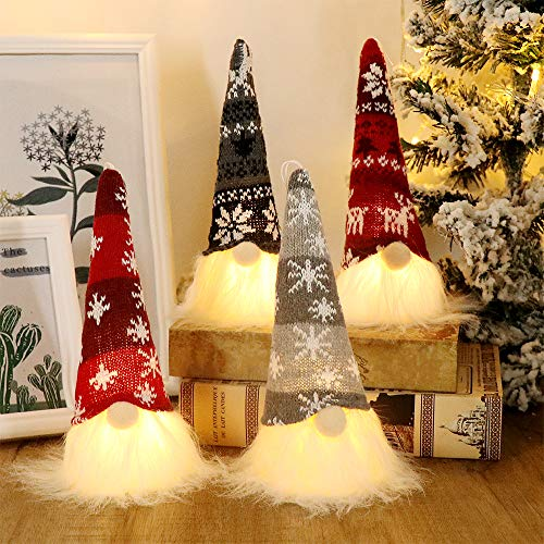 GMOEGEFT Scandinavian Christmas Gnome Lights, Swedish Santa Tomte Gnome, Nordic Xmas Decoration - Set of 4 (Snowflake)