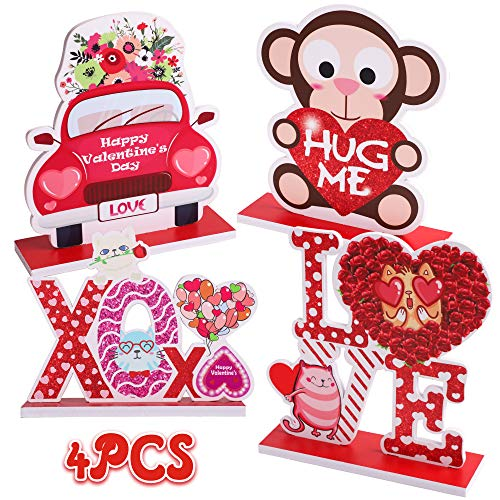 90shine 4PCS Valentines Day Decorations Table Centerpieces Ornaments Heart Wedding Party Decor Supplies(Assembly Needed)