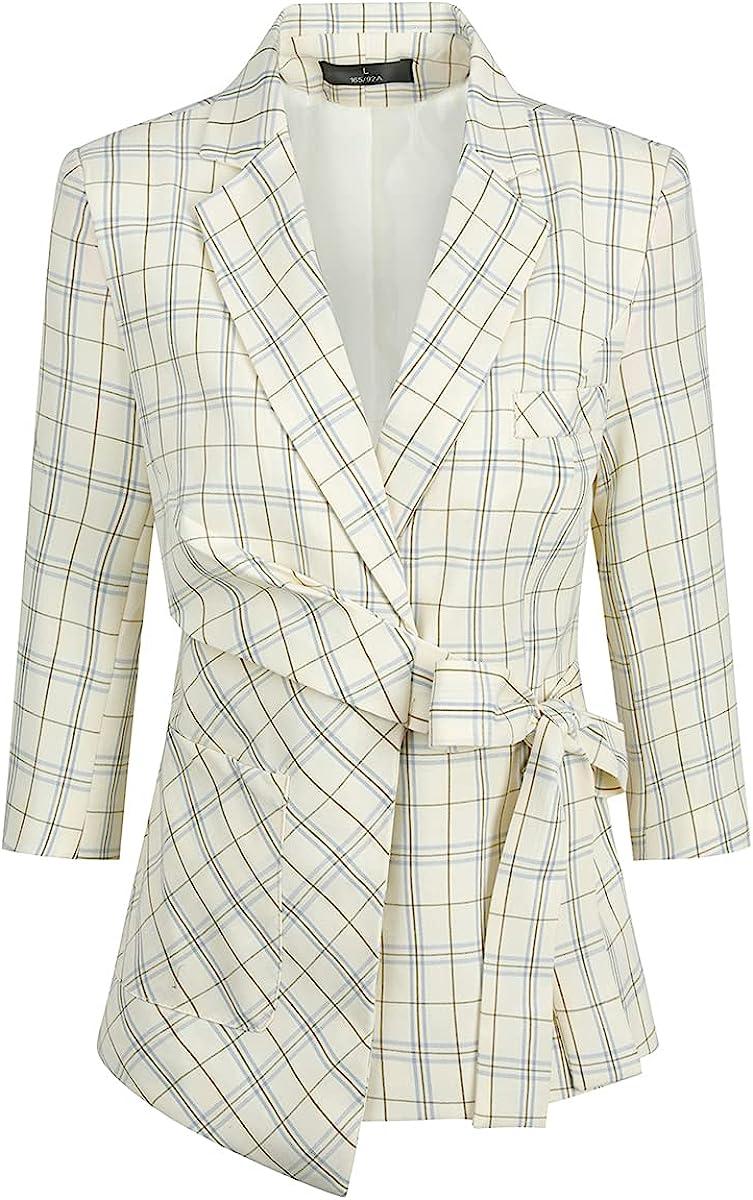 Women's Plaid Blazer Half Sleeve Summer Tie Suit Jacket