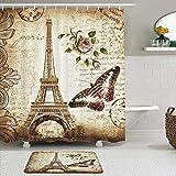 Juego de cortinas y tapetes de ducha de tela,Torre Eiffel Retro Mariposa Flor Sello Antiguo Papel de escritura Diseño,cortinas de baño repelentes al agua con 12 ganchos, alfombras antideslizantes