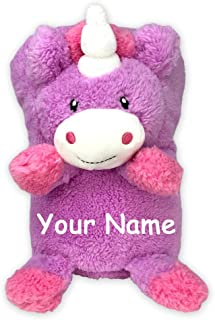 Personalized Pink and Purple Unicorn My Pet Blankie Plush Blanket Toy for Girls with Custom Name
