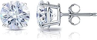 Platinum Round Moissanite Stud Earrings (1 to 7ct TGW, G-H) 4-Prong Set, Push-Back by Diamond Wish